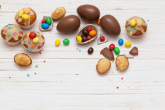 Chocolate Easter Eggs and Cupcake Stock Photos