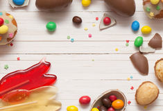 Chocolate Easter Eggs and Cupcake Royalty Free Stock Photography