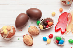Chocolate Easter Eggs and Cupcake Royalty Free Stock Photo