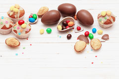 Chocolate Easter Eggs and Cupcake Stock Images