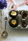 Chocolate Easter Eggs. A delicious dessert made with lemon curd and cream Stock Images