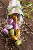 Chocolate Easter eggs in a Easter themed basket Royalty Free Stock Photo