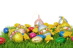 Chocolate easter eggs on grass Stock Images