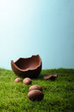 Chocolate Easter Eggs on Grass with Blue Sky Royalty Free Stock Photos