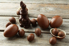 Chocolate easter eggs. On grey wooden background Royalty Free Stock Photos