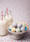 chocolate easter eggs and milk Stock Image