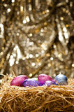 Chocolate Easter eggs in a natural straw nest Stock Images