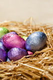Chocolate Easter eggs in a natural straw nest Stock Photos