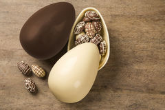 Chocolate Easter Eggs Over Wooden Background. Royalty Free Stock Photography