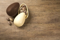 Chocolate Easter Eggs Over Wooden Background. royalty free stock photo
