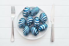 Chocolate easter eggs on a plate, Stock Images