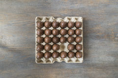Chocolate Easter eggs in a recycled paper tray Stock Photography