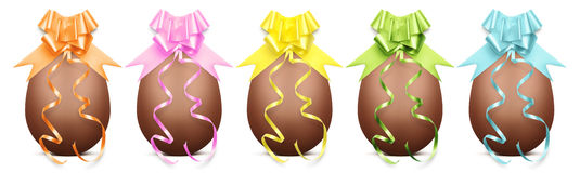 Chocolate easter eggs with ribbon Bow on white backgrou Stock Images