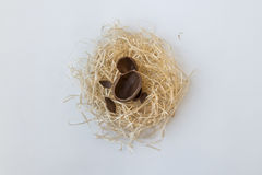 Chocolate Easter eggs in a straw nest isolated on white Royalty Free Stock Photo