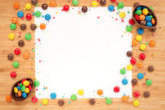 Chocolate easter eggs, sweets candy on a light wooden background Royalty Free Stock Photo