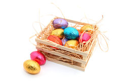 Chocolate Easter eggs on white background Stock Images