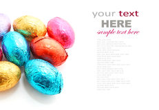 Chocolate Easter eggs on white background Royalty Free Stock Photos
