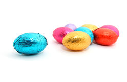 Chocolate Easter eggs on white background Royalty Free Stock Image