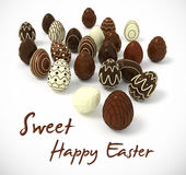 Chocolate Easter eggs on white background. Sweet Happy Easter - Photorealistic Chocolate Easter eggs on white background - hi-res 3d rendered picture with Stock Image