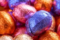 Chocolate easter eggs wrapped in foil Stock Photo