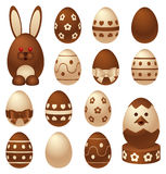 Chocolate Easter figures and eggs Royalty Free Stock Images