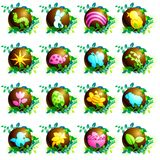 Chocolate easter icons. 16 brightly colored spring and easter icons. Graphics are grouped and in several layers for easy editing. The file can be scaled to any Stock Illustration