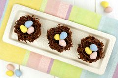 Chocolate Easter nests overhead view Stock Photo