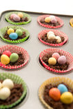 Chocolate Easter Nests about to go in the oven. Chocolate Easter Nests in a baking tray ready to go in the oven with little eggs on top Royalty Free Stock Photos