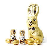 Chocolate easter rabbits and eggs Stock Photo
