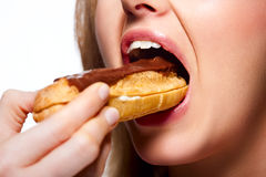 Chocolate eclair Stock Photography