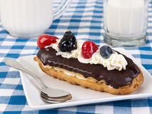 Chocolate eclair Stock Photo
