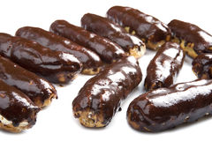 Chocolate eclair close up Stock Images