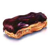 Chocolate Eclair Dessert. Watercolor painting on white background Royalty Free Stock Image