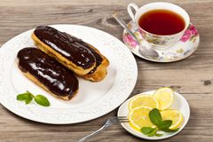 Chocolate eclairs Royalty Free Stock Images
