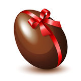 Chocolate Egg. With a red bow Stock Image