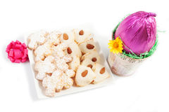 Chocolate egg and almond pastry Royalty Free Stock Photo