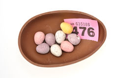 Chocolate egg as prize Stock Photo