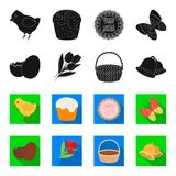 Chocolate egg, bells, basket and flowers.Easter set collection icons in black,flet style vector symbol stock Stock Images