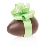Chocolate egg with bow Stock Photo