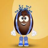 Chocolate egg cartoon. Cute illustration of chocolate egg cartoon Stock Image