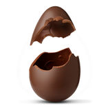 Chocolate egg exploded. On a white background Stock Image