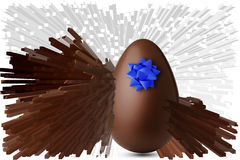Chocolate egg exploded. On a white background Stock Photography