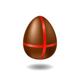Chocolate egg with ribbon and shadow. Happy Easter  illustration on white background. Stock Photo