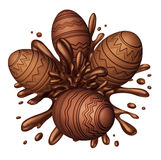 Chocolate Egg Splash. As easter eggs made of delicious sweet ingredients splashing in brown liquid confectionery candy as a festive fun spring food symbol vector illustration