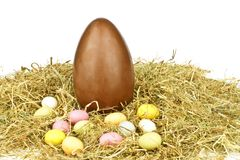 Chocolate egg in straw Stock Image