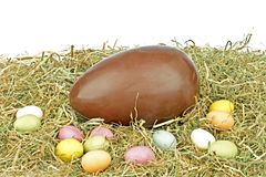 Chocolate egg in straw Stock Photography