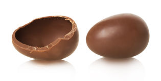 Chocolate egg on white background Stock Images