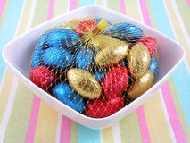 Chocolate eggs. Bowl of chocolate Easter eggs Royalty Free Stock Photo