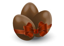 Chocolate eggs with bow Stock Photography