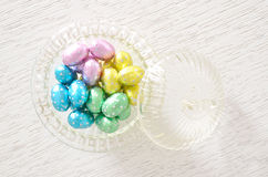 Chocolate eggs in bowl Royalty Free Stock Images